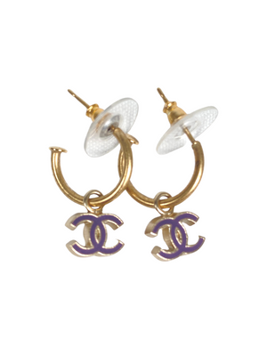 CHANEL - PURPLE ENAMEL XS CC CHARM HOOPS - VINTAGE