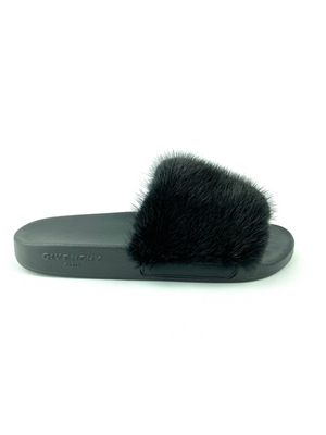 GIVENCHY - BLACK FUR TRIM POOL SLIDES - SZ 37 - NEW
