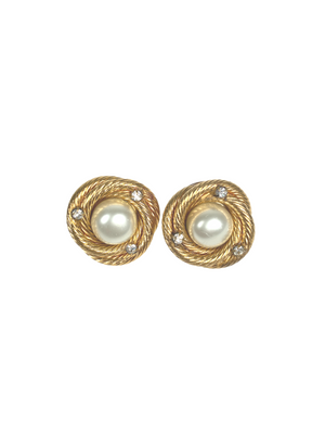 CHANEL - FAUX PEARL AND RHINESTONE CLIP ON EARRINGS - VINTAGE