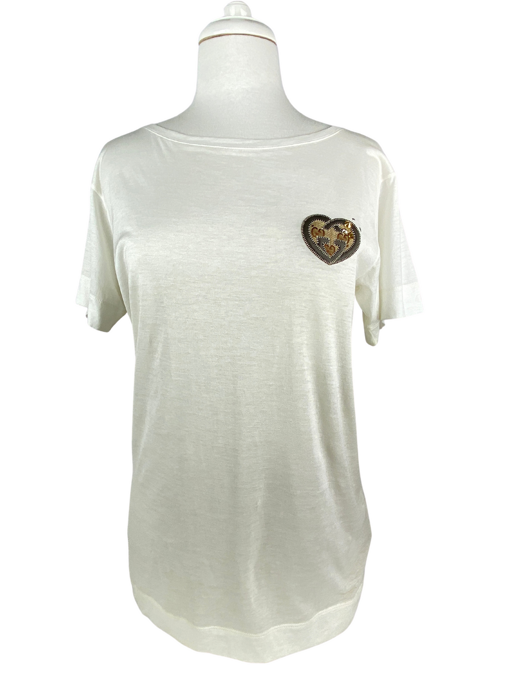 GUCCI - GG HEART APPLIQUE COTTON T-SHIRT - SZ MED
