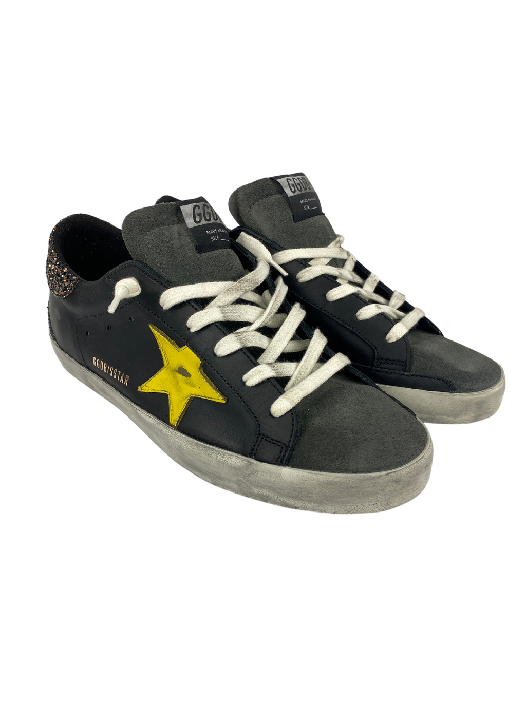 GOLDEN GOOSE - SUPERSTAR BLACK GLITTER YELLOW - SIZE 41 NEW IN BOX