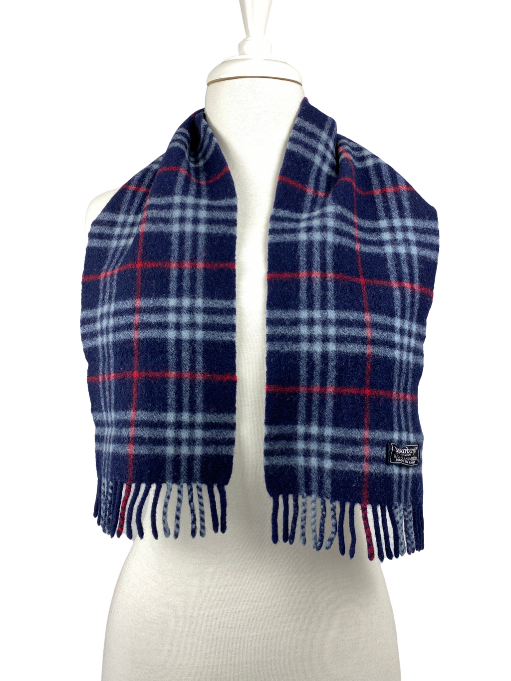 BURBERRY - BLUE NOVA CHECK SCARF 100% WOOL - VINTAGE