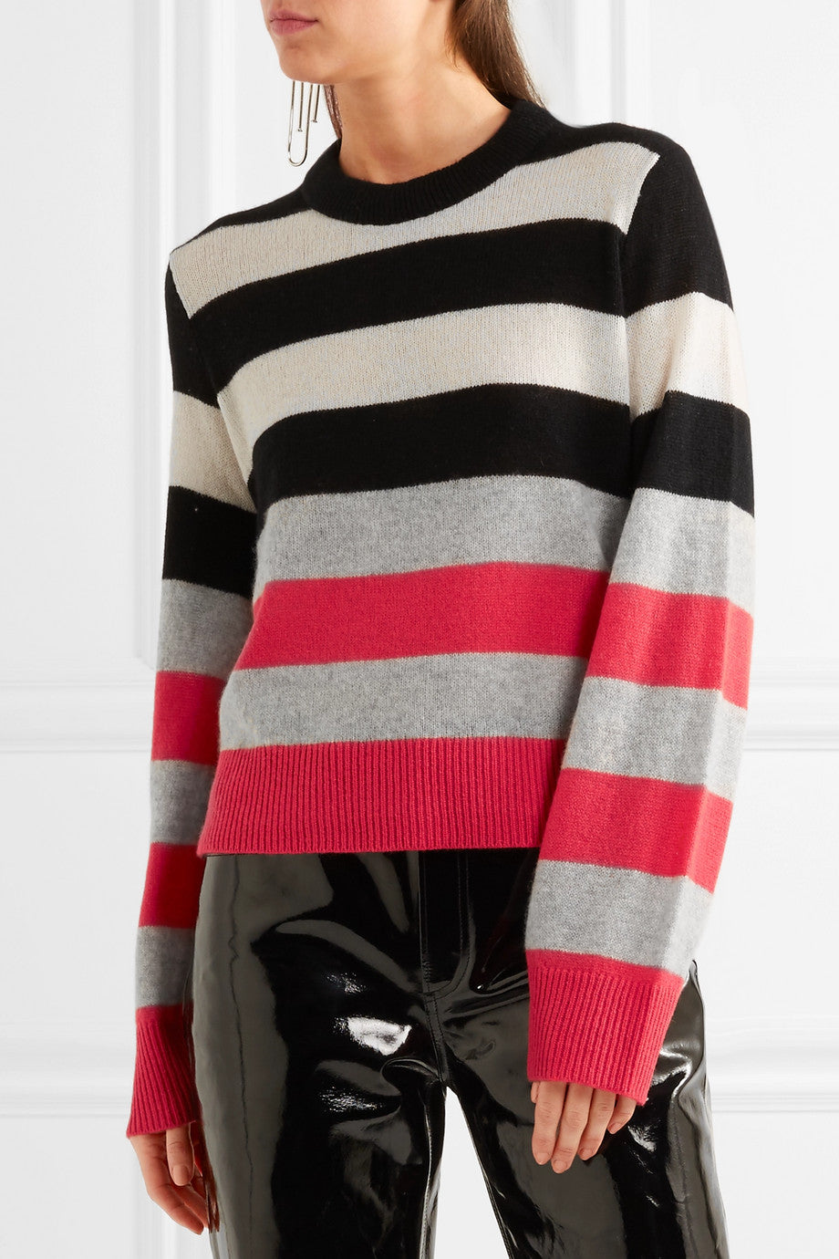 RAG & BONE - ANNIKA STRIPED CASHMERE SWEATER - SZ L - NEW WITH TAGS