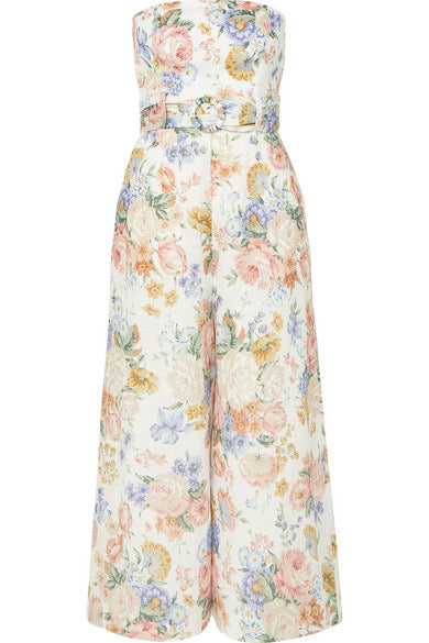 ZIMMERMANN - BOWIE FLORAL LINEN STRAPLESS JUMPSUIT - SZ 2 - NEW WITH TAGS