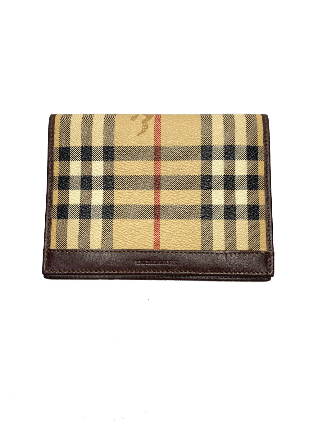 BURBERRY - HAYMARKET CHECK PASSPORT HOLDER CHOCOLATE