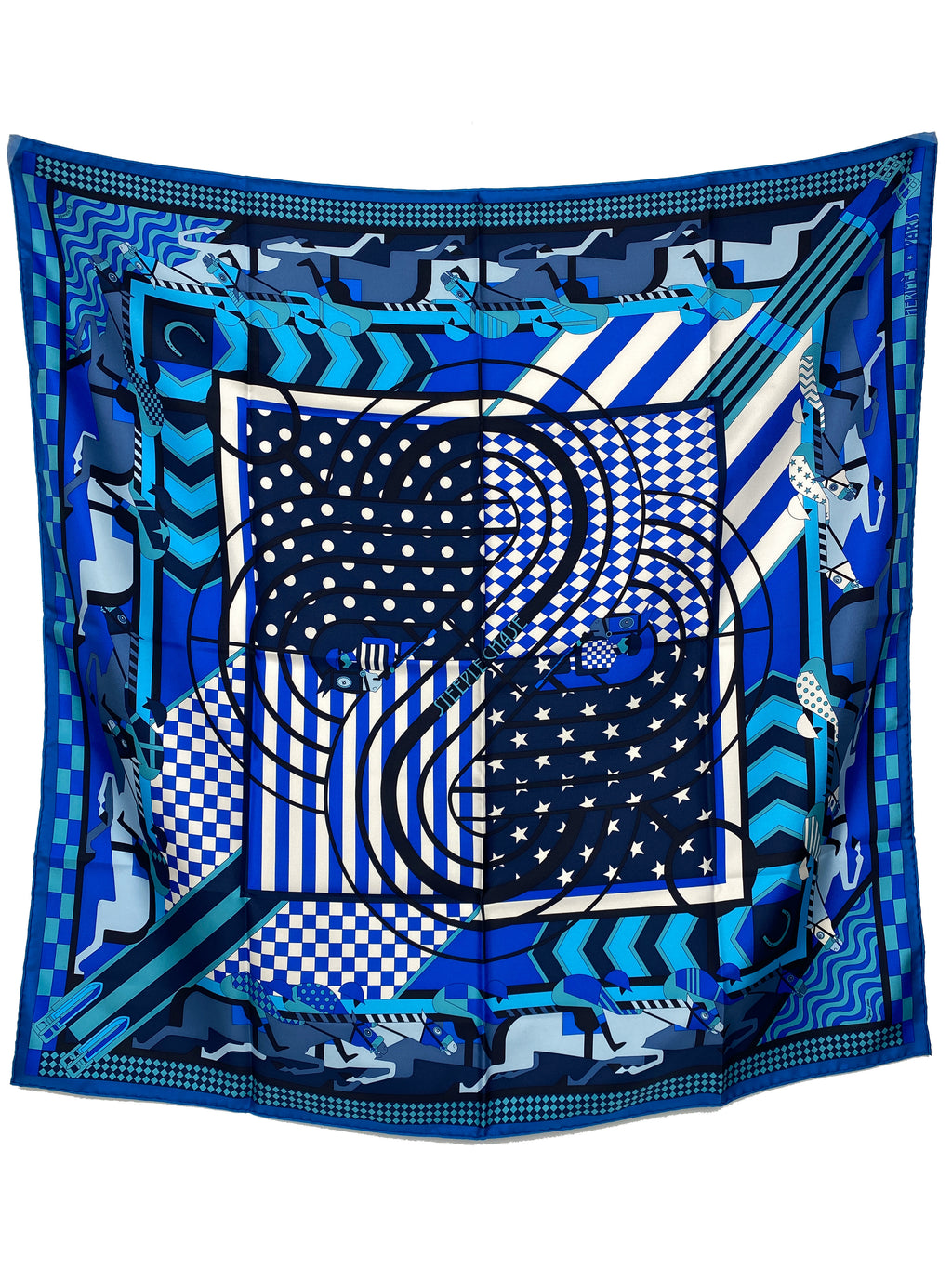 HERMÉS - STEEPLE CHASE SILK SCARF IN BLUE - 90 CM