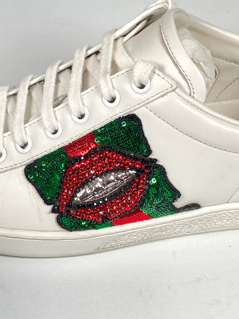 GUCCI - WEB CRYSTAL MOUTH ACE SNEAKERS - SIZE 38