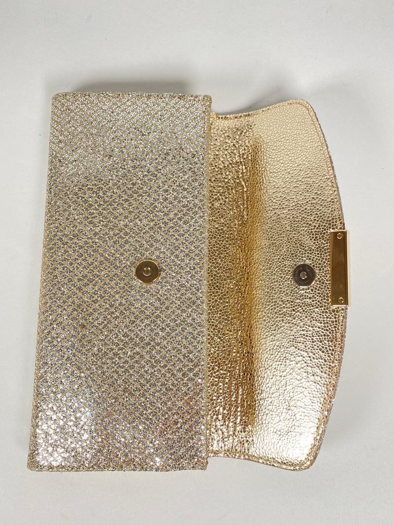 JIMMY CHOO - RAINE CLUTCH BAG GLITTER CHAMPAGNE