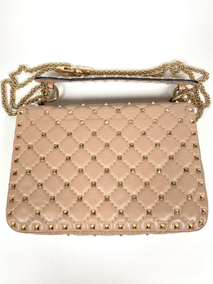 VALENTINO - ROCKSTUD SPIKE LEATHER BAG POUDRE MED SIZE