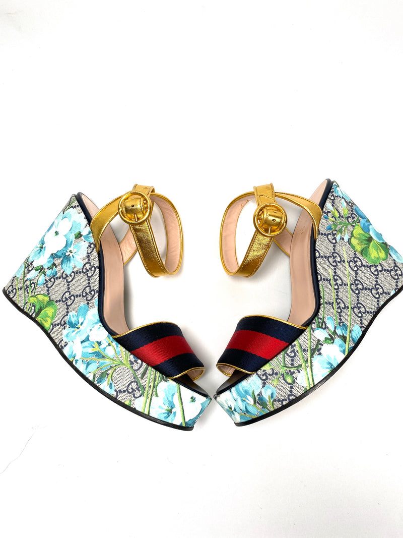 GUCCI - GG BLOOMS WEB WEDGE SANDALS - SZ 38.5