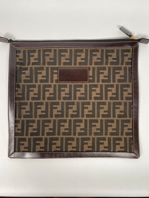 FENDI - BROWN ZUCCA CANVAS LARGE COSMETIC CASE POUCH