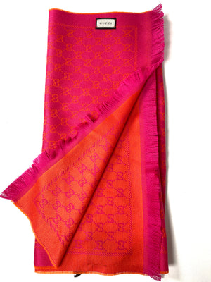 GUCCI - PINK AND ORANGE WOOL GG JACQUARD SCARF - NEW