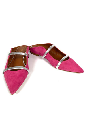 MALONE SOULIERS - MAUREEN POINTED TOE FLAT IN FUCHSIA SUEDE - SZ 38 - NEW IN BOX