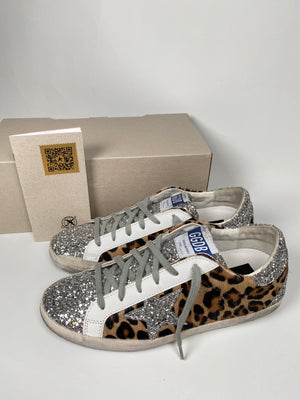 GOLDEN GOOSE - SUPERSTAR LEOPARD AND GLITTER STAR SNEAKERS - SZ 38