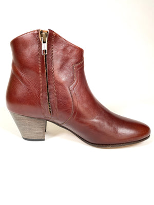 ISABEL MARRANT - DICKER COGNAC LEATHER ANKLE BOOTS - SZ 38 - NEW IN BOX