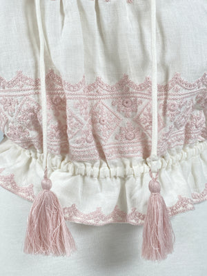 ZIMMERMANN - LEILA OFF WHITE EMBROIDERED COTTON AND LINEN BLOUSE - SZ 3 / 14 - NEW