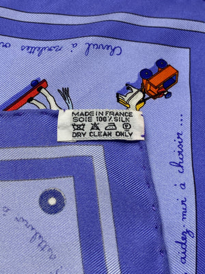 HERMÈS - 'RACONTE-MOI LE CHEVAL' SILK SCARF IN PERIWINKLE