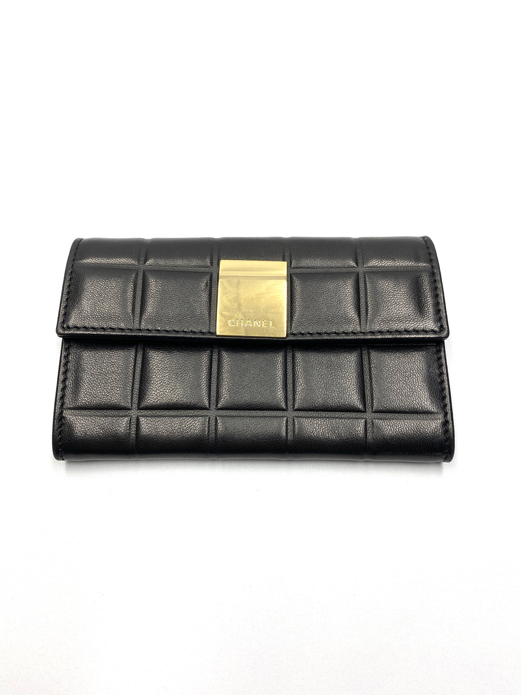 CHANEL -  CHOCOLATE BAR WALLET IN BLACK LEATHER - VINTAGE