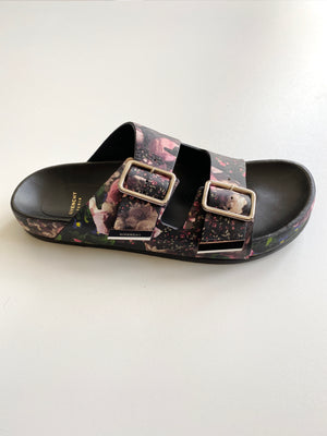 GIVENCHY - FLORAL PRINT NAPPA LEATHER BUCKLE SANDALS - SZ 37 - NEW IN BOX