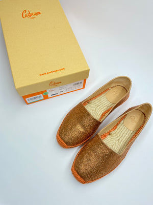 CASTEÑER - KENDA ESPADRILLE FLATS IN GLITTER ORANGE - SZ 38 - NEW IN BOX
