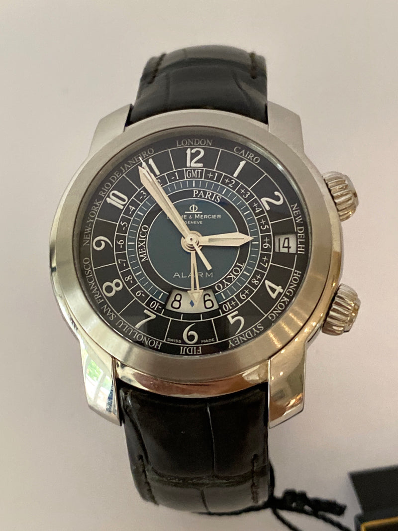 BAUME & MERCIER - CAPELAND ALARM GMT WORLD TIME AUTOMATIC WATCH MENS
