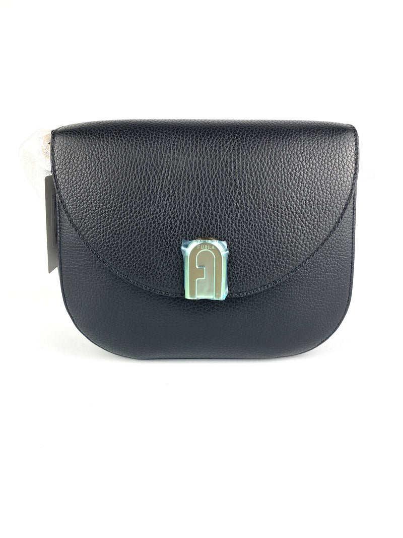 FURLA - SLEEK SMALL CROSS BODY IN  BLACK LEATHER - BRAND NEW