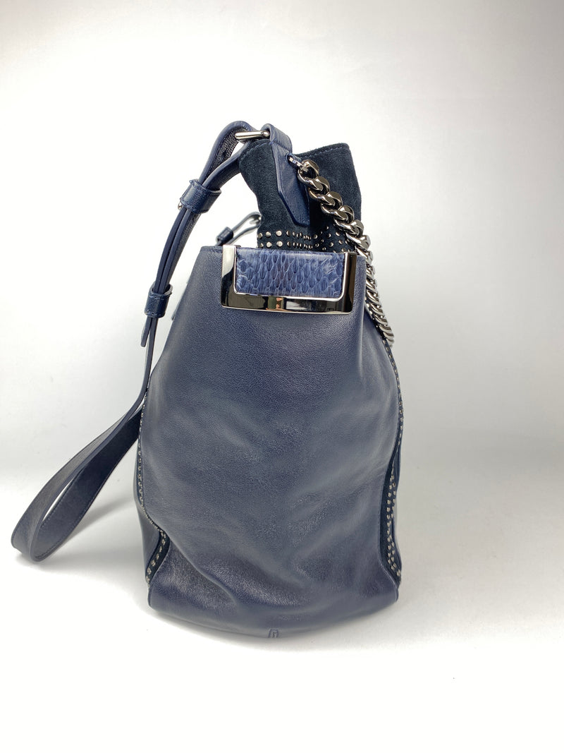 JIMMY CHOO - ANNA LARGE STUDDED HOBO IN INK