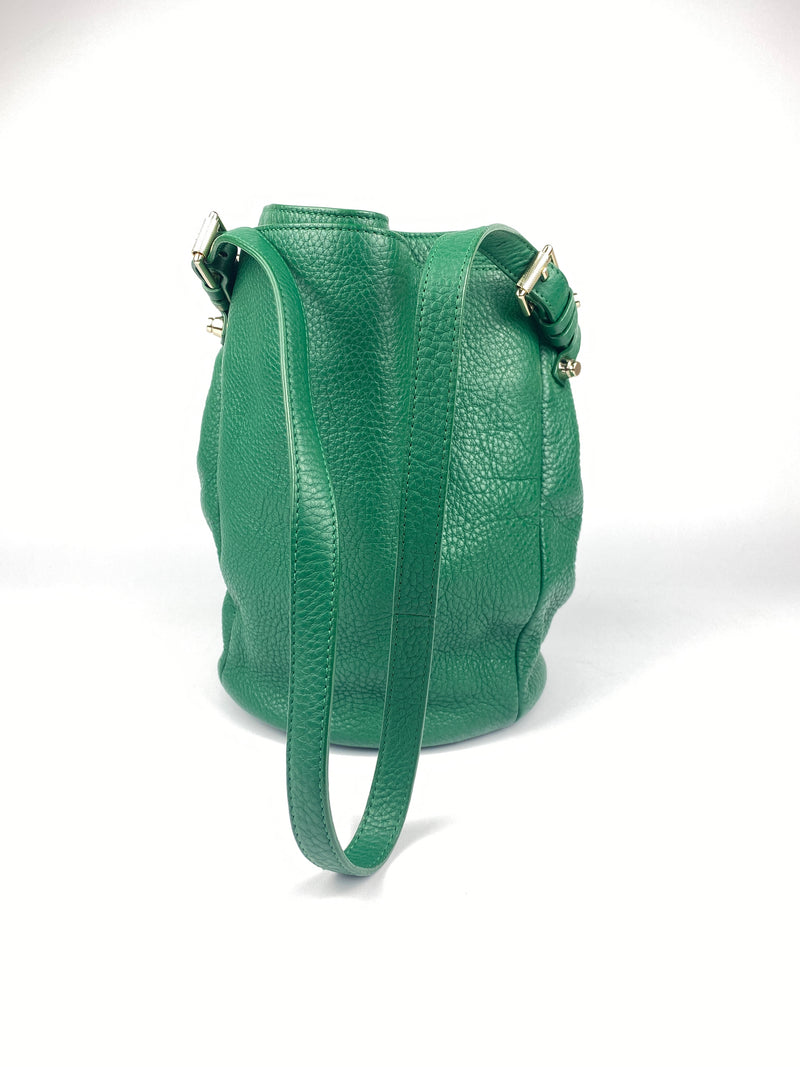 ALEXANDER WANG - DIEGO BUCKET BAG IN GREEN PEBBLED LEATHER
