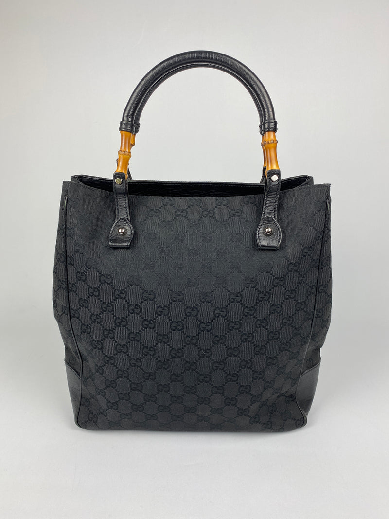 GUCCI - BLACK GG CANVAS BAMBOO HANDLE TOTE BAG