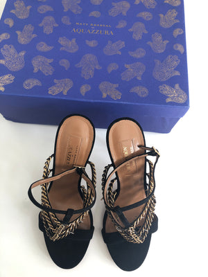 AQUAZZURA - BLACK COIN CHAIN DETAIL SANDALS - SZ 37 - NEW