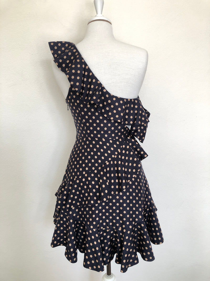 ZIMMERMANN - RIFE FLOUNCE DRESS IN NAVY & GOLD - SZ 1