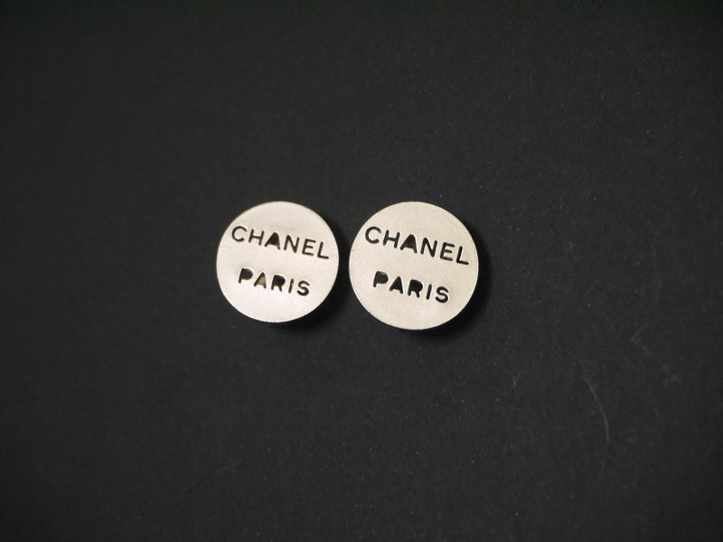 CHANEL - SILVER LOGO CUTOUT CLIP-ON EARRINGS - VINTAGE