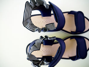 TWOOBS - ELLA // ZARA PINK AND NAVY FRILL DETAILS SANDALS - SZ 39 - NEW