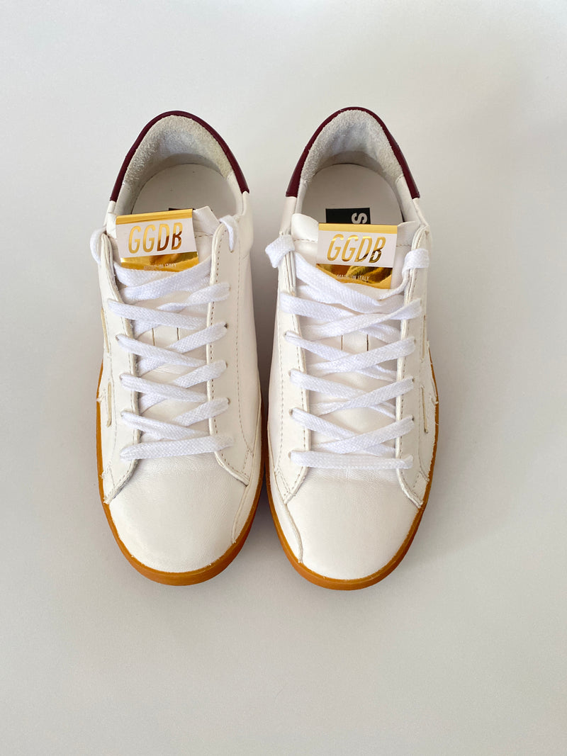 GOLDEN GOOSE - SUPERSTAR WHITE BURGUNDY TAB SNEAKERS - Sz 37 - NEW IN BOX