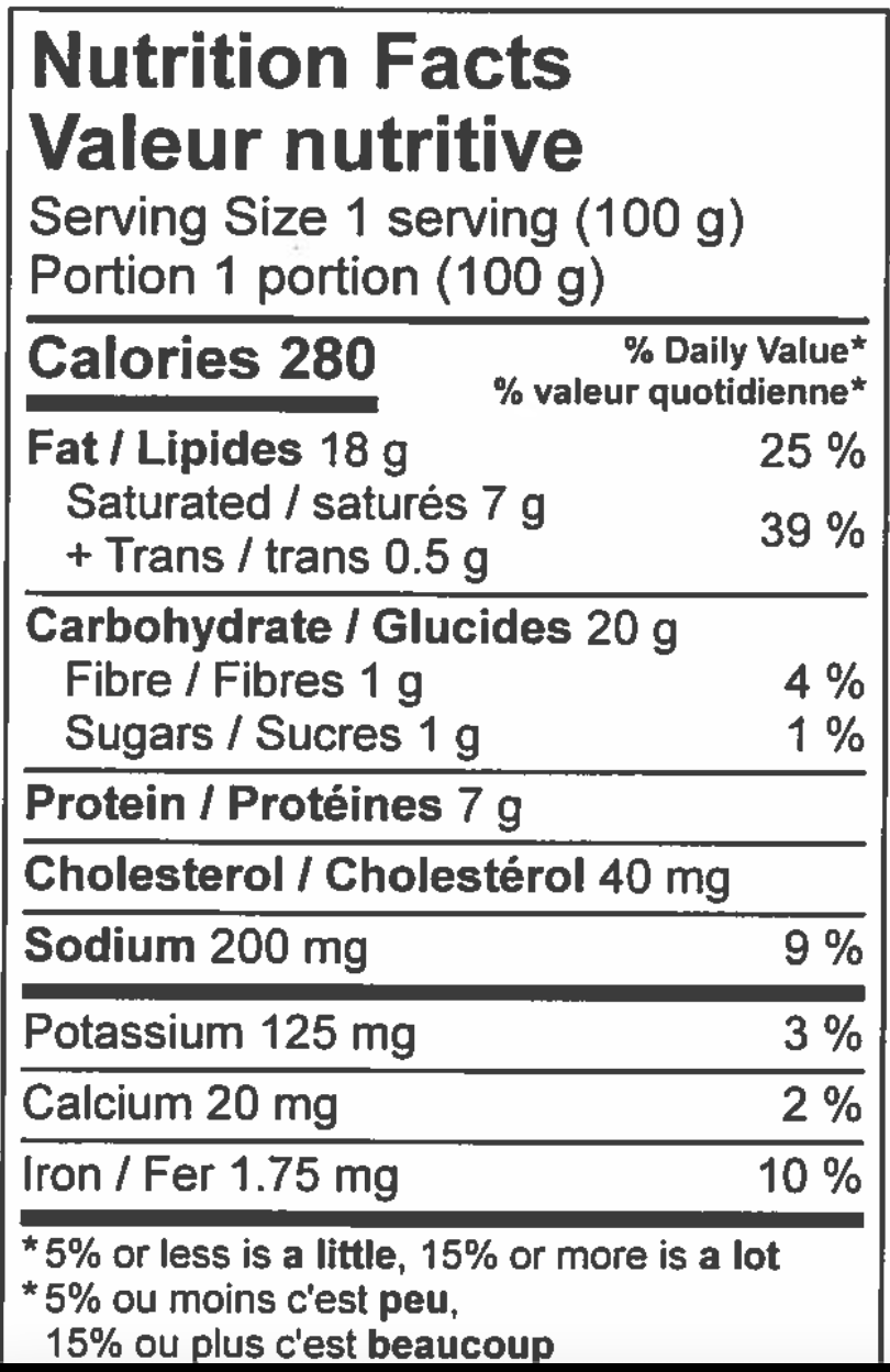 nutritional information sheet for beef and veg pie.