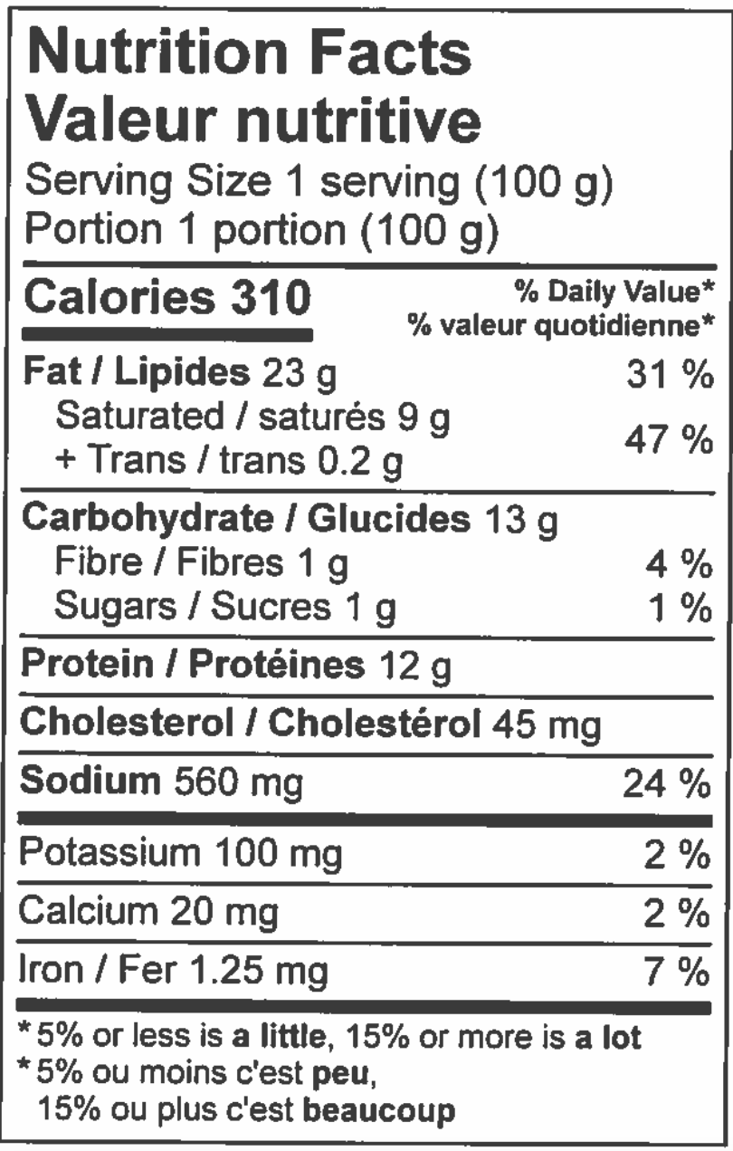 nutritional information sheet for Sausage roll