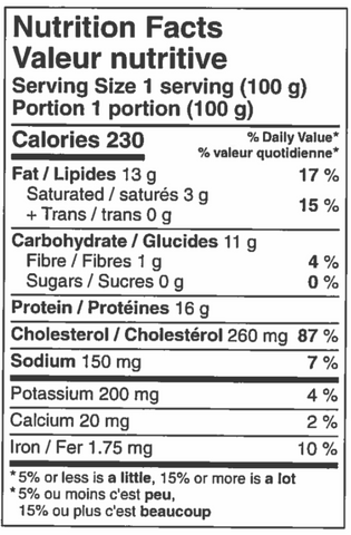 nutritional information sheet for Chicken Balti pie.