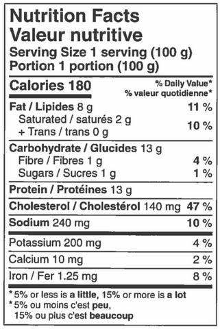 nutritional information sheet for Chicken Pot pie.