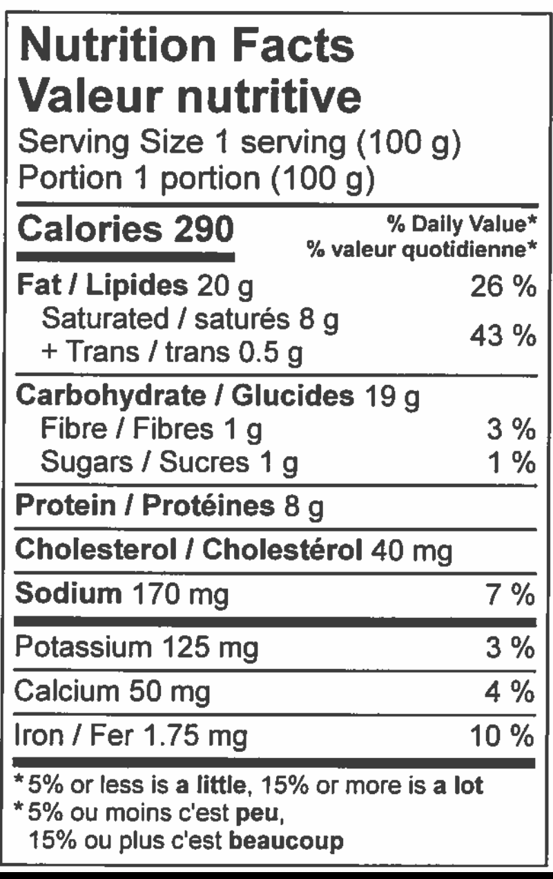 nutritional information sheet for steak and cheese pie.