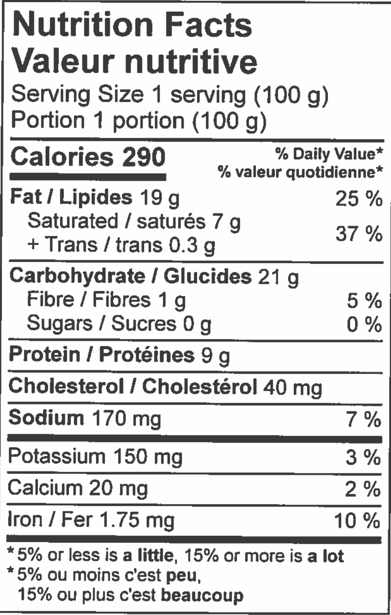 nutritional information sheet for tourtiere pie.