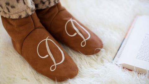 personalized booties - sewing and machine embroidery project idea