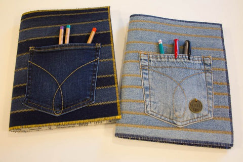 upcycled denim jeans book covers