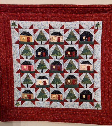 House and Funky Tree Paper Pieced Quilt Miniature