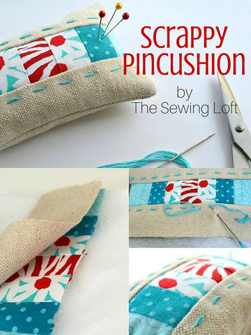 scrappy pincushion by the sewing loft