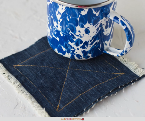 upcycled denim coasters