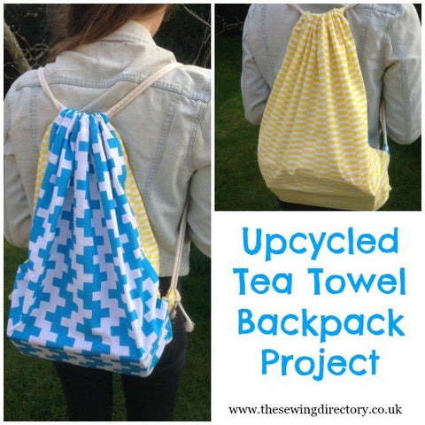 upcycled tea towel backpack