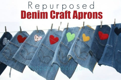 upcycled denim craft aprons