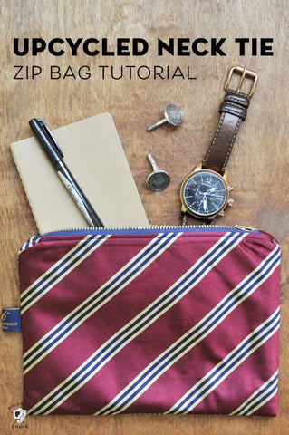 Upcycled Necktie Zipper Pouch