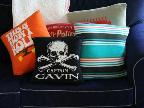 upcycled t-shirt pillows