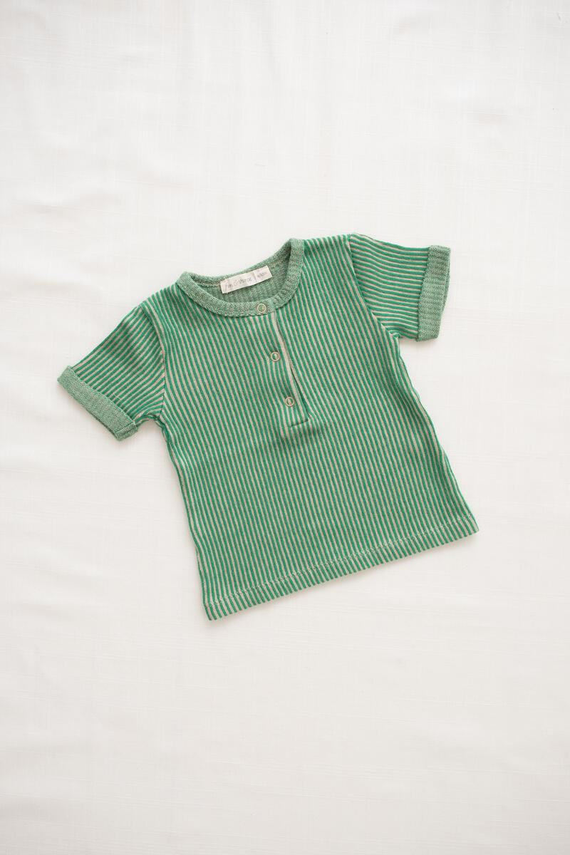 Fin and Vince Ribbed Terry Snap Tee - Emerald